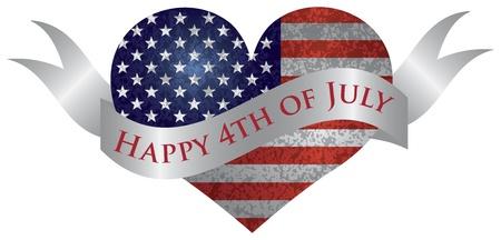 fourth of july: Quarto di luglio Bandiera USA in forma di cuore con texture e Scroll con Happy 4th di luglio l'illustrazione del testo Vettoriali