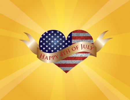 Fourth of July USA Flag in Heart Shape with Texture and Scroll with Happy 4th of July Text and Sun Rays Background Illustration