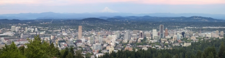 mt hood: Portland Oregon Downtown Cityscape with Mount Hood During Sunset Panorama