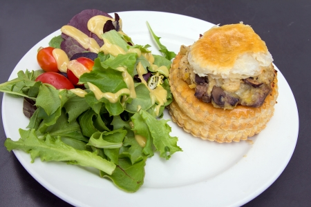 cloesup: Chicken Pot Pie with Leafy Green Vegetables Tomatoes and Salad Dressing
