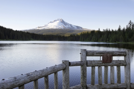 trillium lake: Fishing Pier at Trillium Lake Oregon with Mt Hood and Clear Blue Sky