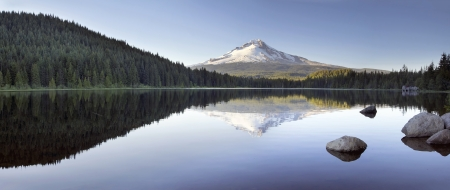 Mt Hood Reflection on Trillium Lake with Clear Blue Sky Panorama photo
