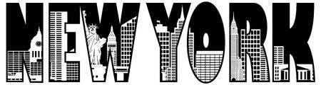 ニューヨーク市のスカイライン テキスト アウトライン シルエット黒と白のイラスト