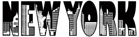 New York City Skyline Text Outline Silhouette Black and White Illustration Vettoriali