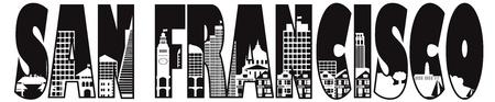 샌프란시스코 캘리포니아 도시의 스카이 라인 텍스트 개요 흑백 그림 일러스트