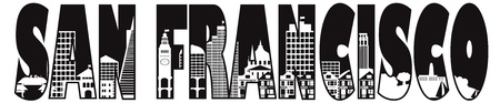 coast: San Francisco California City Skyline Text Outline Black and White Illustration