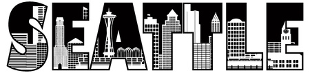 pacific northwest: Seattle Washington City Skyline Text Outline Silhouette Black and White Illustration