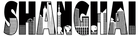 Shanghai China City Skyline Text Outline Black and White Illustration