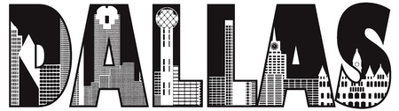 Dallas Texas City Skyline Text Outline Black and White Silhouette Illustration Vector