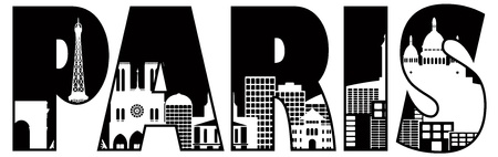 Paris France City Skyline Text Outline Black and White Silhouette Illustration Vector