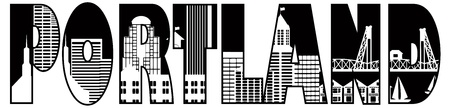 brownstone: Portland Oregon Downtown City Skyline Text Outline Black and White Silhouette Illustration