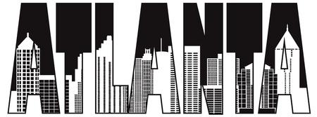 oriente: Atlanta Georgia City Skyline texto Contorno Blanco y Negro Ilustración de la silueta