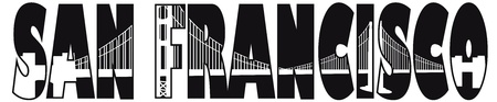 postcard: San Francisco California Golden Gate Bridge Text Outline Black and White Illustration