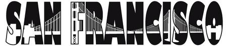 ca: San Francisco California Golden Gate Bridge Text Outline Black and White Illustration