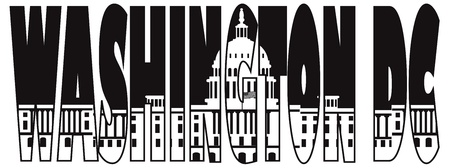 congresses: Washington DC Capitol Building Text Outline Black and White Silhouette Illustration