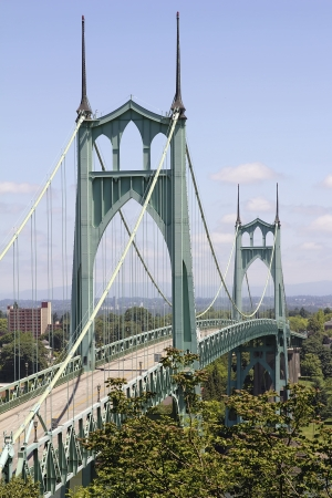 road cycling: St Johns Bridge for Vehicles and Bicycles Over Willamette River in Portland Oregon
