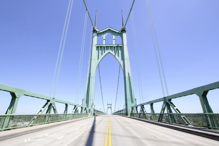 state of oregon: St johns Bridge Against Clear Blue Sky from the Middle of the Freeway in Portland Oregon