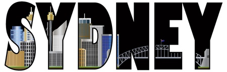 tower bridge: Sydney Australia Text Outline with Tower Bridge Color Illustration Illustration