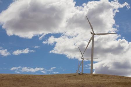 megawatts: Wind Turbines Energy Farm in Windy Point Goldendale Washington State Stock Photo