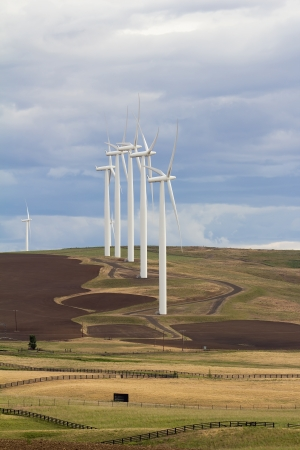 windy energy: Wind Turbines Energy Farm in Windy Point Goldendale Washington Farmland Stock Photo
