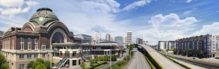 tacoma: Freeways to City of Tacoma Washington with Union Station Federal Courthouse with Blue Sky and Clouds Panorama