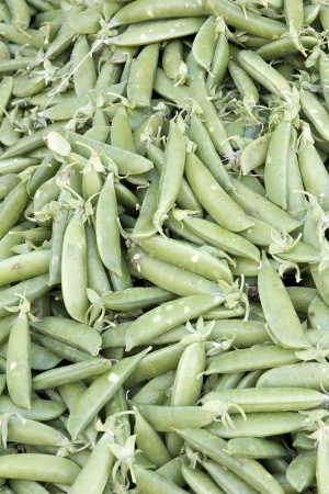 snap: Pile of Sugar Snap Pea Pods at Fruits and Vegetables Stall in Farmers Market Background