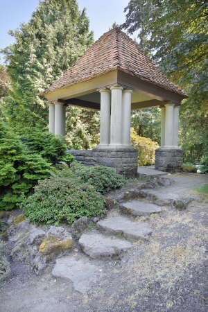 hardscape: Gazebo with Natural Stone Steps at Public Garden