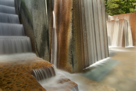 water feature: Portland Oregon Urban Public Parks Water Fountain  with Stair Steps Long Exposure