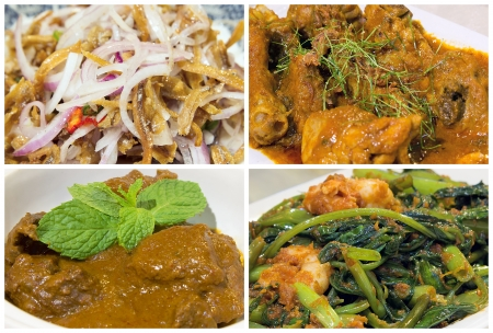 Nyonya Peranakan Food Collage with Beef Rendang Curry Chicken Ikan Bilis Chili Onions and Kangkong Prawns Dish Closeup Collage photo