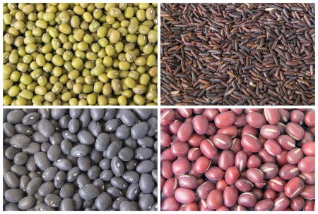 angularis: Red Green Black Beans and Glutinous Black Rice Grain Closeup Collage Stock Photo