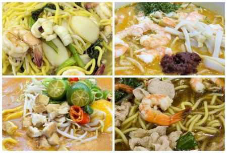 Southeast Asian Singapore Hawker Food Stall Noodles Dishes Closeup Collage photo