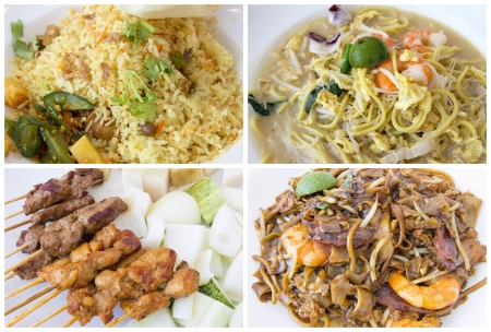 Southeast Asian Singapore Local Hawker Food Stall Dishes Closeup Collage photo