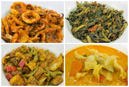 Southeast Asian Singapore Local Nyonya Peranakan Dishes Closeup Collage photo