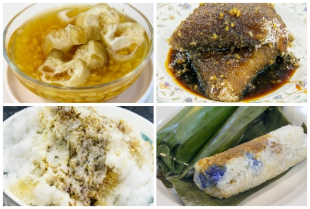Southeast Asian Singapore and Malaysia Local Dessert and Snacks Closeup Collage photo