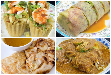 Southeast Asian Singapore Local Dishes Closeup og Poh Piah Kueh Pie Tee Roti Prata Tauhu Goreng Collage photo