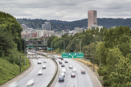 portland oregon: I-84 to I-5 Interstate Freeway in Portland Oregon with Long Exposure Vehicle Traffic Motion