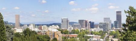 mt hood: Portland Oregon Downtown Cityscape Skyline with Mount Hood Panorama