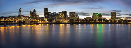 eastbank: Portland Oregon Downtown Waterfront City Skyline with Hawthorne Bridge at Blue Hour Panorama
