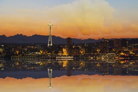 seattle skyline: Seattle Washington Downtown City Skyline from Alki Beach at Sunrise