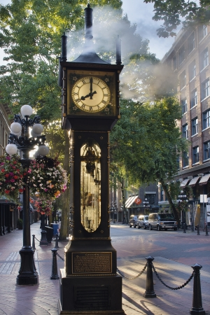am: Steam Clock at Gastown Vancouver BC Canada at Eight AM in the Morning with Sunlight
