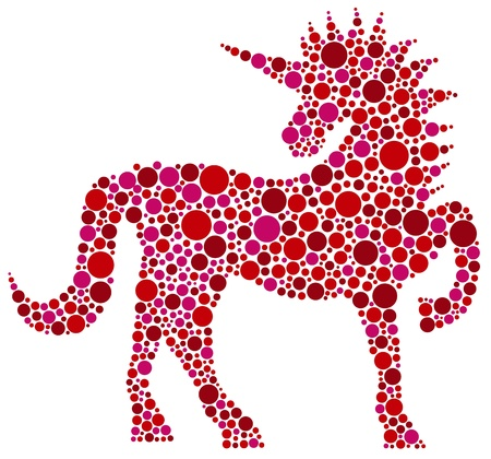 Unicorn in Pink Polka Dots Isolated on White Background Illustration Ilustrace