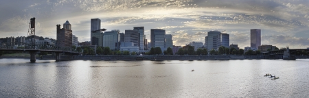 eastbank: Kayaking Along the Willamette River in Portland Oregon Downtown Waterfront Panorama