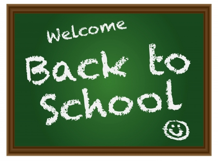 Back To School Chalkboard with Text and Smiling Face Symbol Illustration