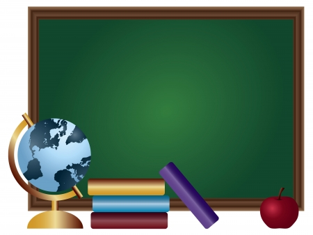 School Classroom Chalkboard Blank with Textbooks Spinning World Globe and Red Apple Illustration Иллюстрация