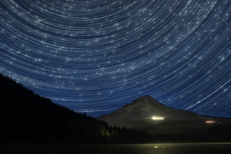 trillium lake: Star Trails Over Mount Hood at Trillium Lake Oregon with Perseid Meteors