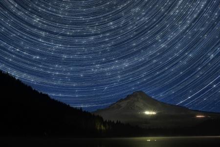 trillium lake: Star Trails Over Mount Hood at Trillium Lake Oregon with Perseid Meteors