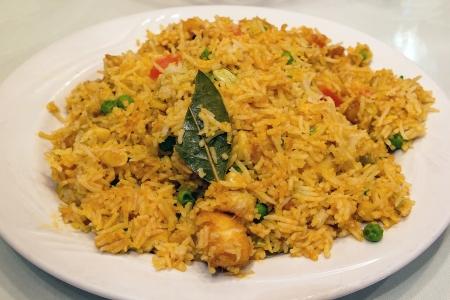 biryani: East Indian Biryani Rice Dish with Meat Stock Photo