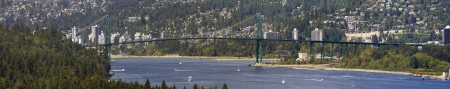 bc: Lions Gate Bridge Over Burrard Inlet in Vancouver BC Canada Panorama