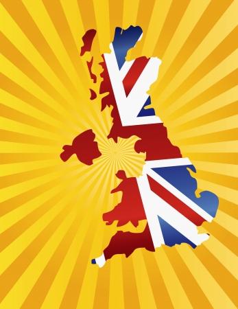 Reino Unido Gran Breta?a Union Jack Flag in Silhouette mapa con la ilustraci?n del fondo dom Rays Foto de archivo - 22678204