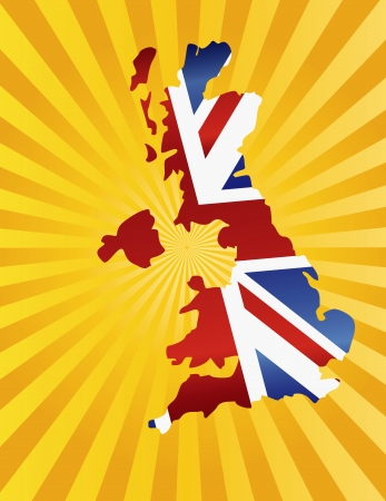 UK Great Britain Union Jack Flag in Map Silhouette with Sun Rays Background Illustration